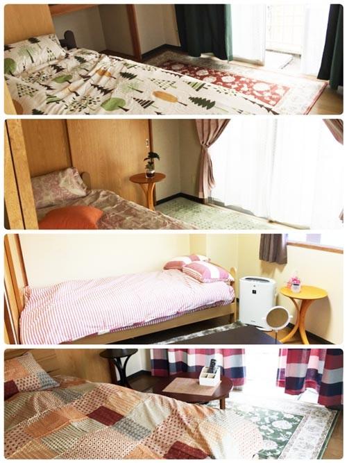 寮のベッドです。すべてフランスベッドになります。