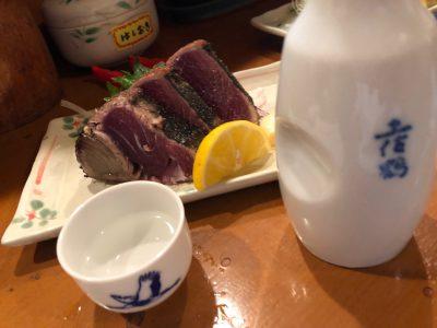 カツオの塩たたきと日本酒