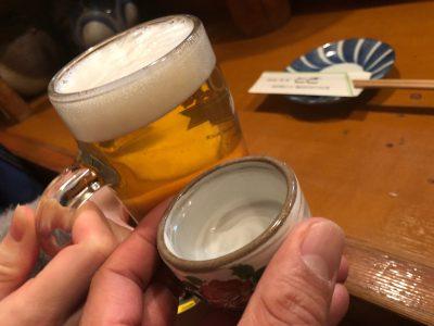 生ビールと土佐鶴で乾杯