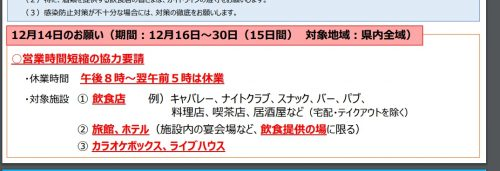 高知県から飲食店への自粛要請